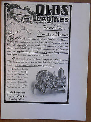 1906 vintage AD Olds Gasoline Engine Works Michigan power for country homes
