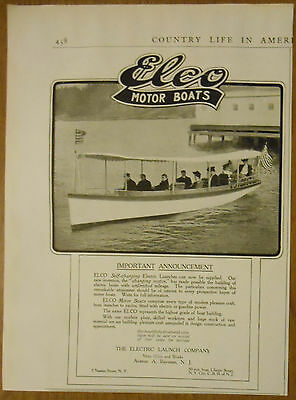 1906 vintage boating AD Elco Motor Boats Electric Launch Company