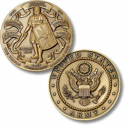 US Army Armor of God Challenge Coin Ephesians Bible Verse Knight Military Seal