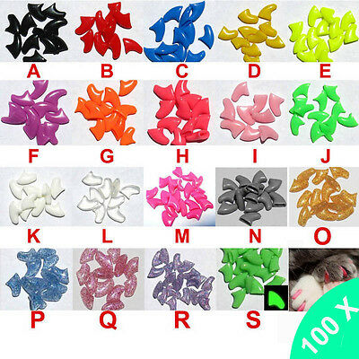 New 100Pcs Soft Cat Pet Nail Caps Claw Control Paws Kitten Small Medium Large