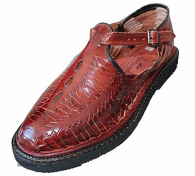 Men S Closed Toe Huarache Sandals Wine Mexican Huaraches Leather
