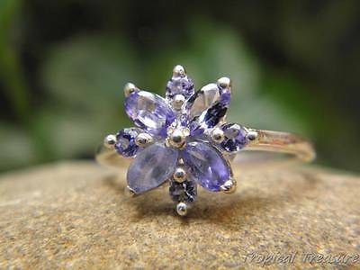 Tanzanite & 925 SOLID Silver RING (Sizes 7-9, N 1/2 - R 1/2)
