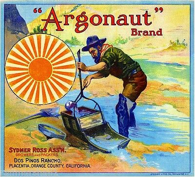 Placentia Argonaut Gold Miner Orange Citrus Fruit Crate Label Art Print