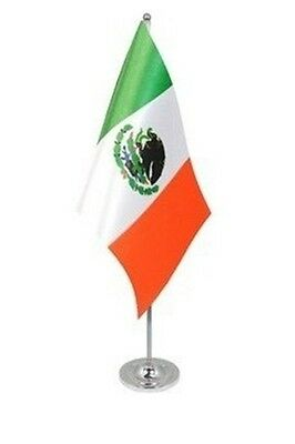 "MEXICO DELUXE SATIN TABLE FLAG 9""X6"" CHROME POLE & BASE Stands 15"" MEXICAN"