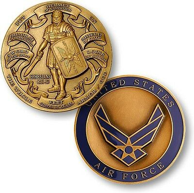 US Air Force Armor of God Challenge Coin Ephesians Bible Verse Knight USAF Wings