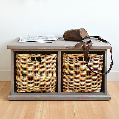 Acacia storage bench with wicker baskets, Hallway bench with 2 storage baskets