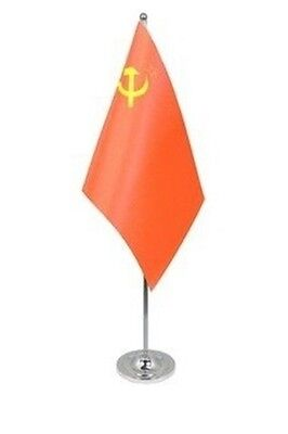 "USSR DELUXE SATIN TABLE FLAG 9""X6"" CHROME POLE & BASE Stands 15"" U.S.S.R. RUSSIA"