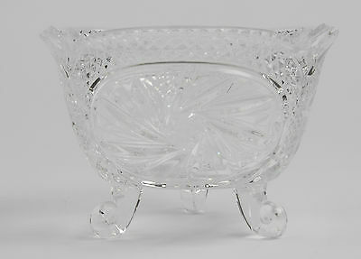 Vintage Cut Glass Crystal Pinwheel Hobstar Footed Fruit Bowl Compote Candy