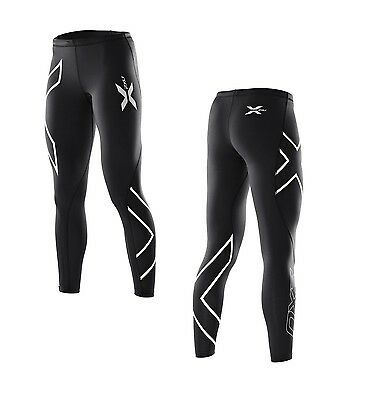 New 2XU Compression Tights Women Lady Running Pants Sports 6 Sizes BLACK SILVER
