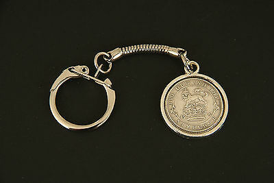 Lucky Sixpence Pendant Keyring  - 1910 - 1919 in gift box