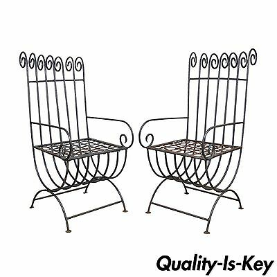 Pair Vintage Wrought Iron Curule Whimsical Regency Style Scrolling Arm Chairs