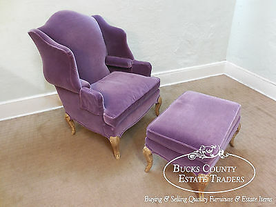 Pearson Purple Wing Chair & Ottoman 2 Piece Chaise Lounge