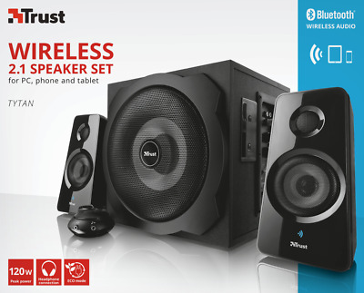 Trust 19368 2.1 Tytan 120W Wireless Bluetooth +Wired Option Speaker Set + Remote