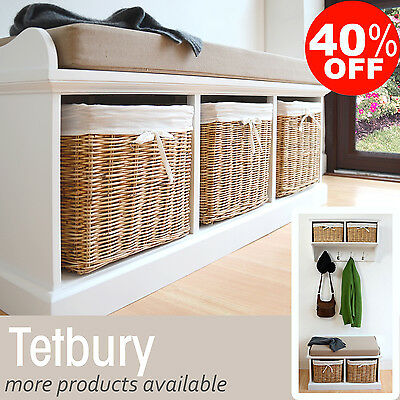 Tetbury Bench with cushion and storage baskets Hanging Shelf  availableASSEMBLED