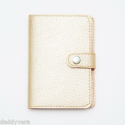 Glow Gold Sophis Leather Passport Holder Wallet Cover Case Bag Travel Wo Men Gif