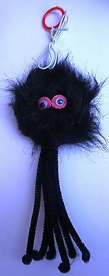 Furry Black Spider with Cat Nip on a Elastic - DANGLING BUNGEE CAT TOY