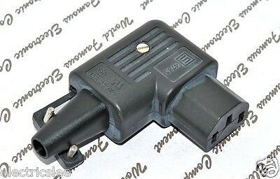1pcs-SCHURTER 4785-0000 IEC C10 - 90 Deg Re-wireable Female Plug -Connector