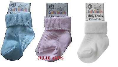 Cute  Cotton Socks By Soft Touch , Babies,  Blue, Pink Or White  Reborn Sizes