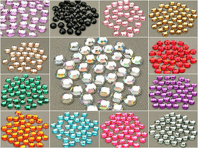 Rhinestone Gems Diamante Flat Back Acrylic Resin x 1000, Nail Art & Crafts