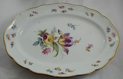Small Oval Serving Dish.  Meissen Porcelain.  19th Century