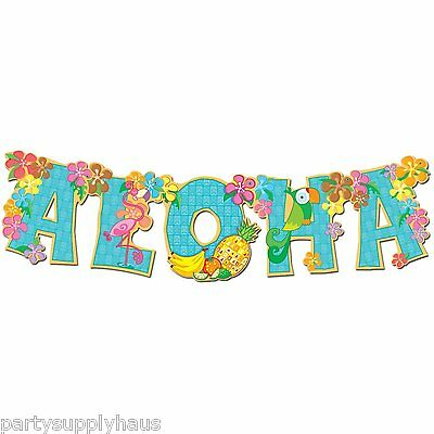 LUAU Tropical Flower & Birds ALOHA BANNER Pool Party Decoration HAWAII
