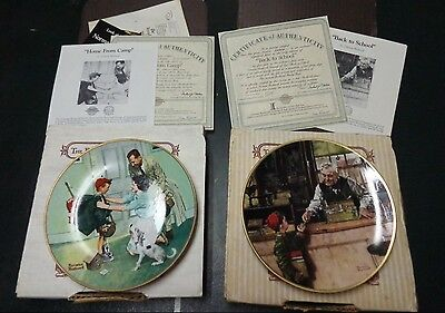 """2 Knowles Norman Rockwell's Collector Plates  """"Home From Camp""""  Back to School"""