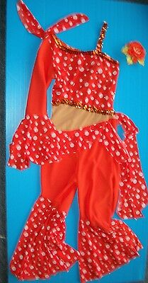 New Wolff Fording COSTUME   Orange w/White Dots Latin Dance  SMALL ADULT LADIES
