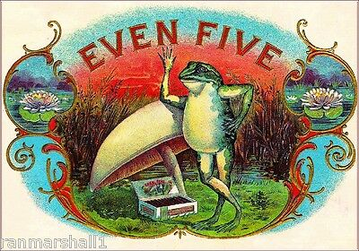 Even Five Frogs Smoke Vintage Cigar Tobacco Box Crate Inner Label Print