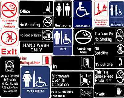 "All Types Of Signs Information Sign With Symbols Door Sign 9"" X 3"" And 6"" X 9"""