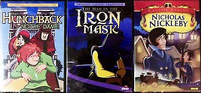 3 DVD LOT-The Man in the Iron Mask,Hunchback of Notre Dame,Nicholas Nickleby NEW