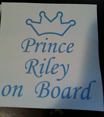 Prince Baby On Board with Name Car Windo Vinyl Decal Sticker 4.5 in *any color