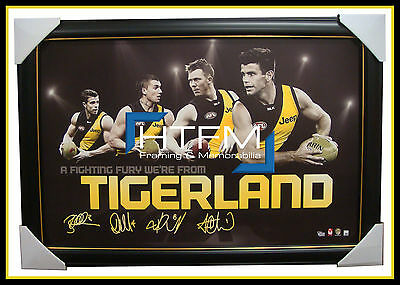 RICHMOND Four Player Facsimile AFL Official Licensed Print Framed COTCHIN MARTIN