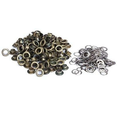 100 Sets 10mm Round Metal Eyelets Grommets Ring Antique Brass for Scrapbooking