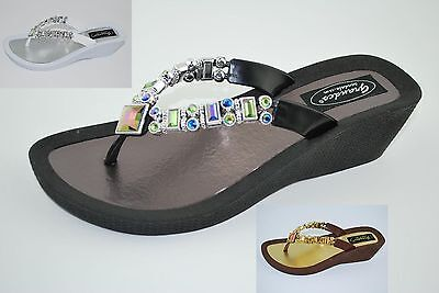 76f09860ce6b2a Grandco Ladies Lily Wedge Thong Sandal Bead   Jewel Black Brown or White  26744E