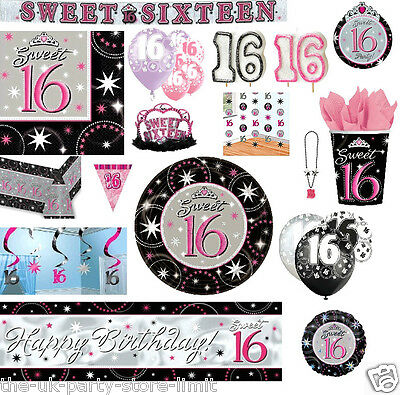 SWEET 16th Sixteen Birthday Girls Prismatic Birthday Party Plates Cups Job Lot