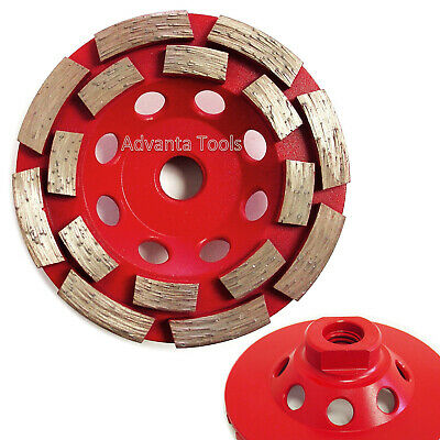 "4"" Double Row Concrete Diamond Grinding Cup Wheel 16 Seg - 5/8""-11 Threads"