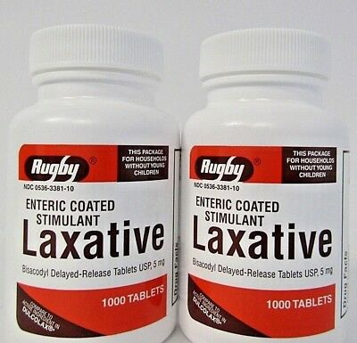 Rugby Bisacodyl 5 mg EC (Compare to Dulcolax) 1000ct - 2 Pack - Exp Date 12/2020