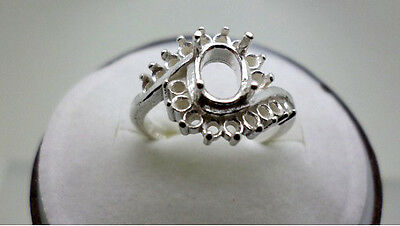 8x6mm Oval Bypass Ladies Cluster Pre-Notched Sterling Silver Ring Setting Size 7