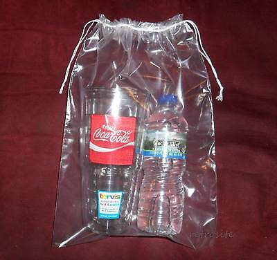 "10 Qty 10"" x 14"" Double Drawstring Clear Poly Plastic Bags 2MIL Reusable/Durable"