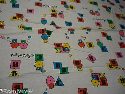 """Vintage Colorforms Child's Toddler Bed Sheet 38"""" X 55""""  Could Be Homemade"""
