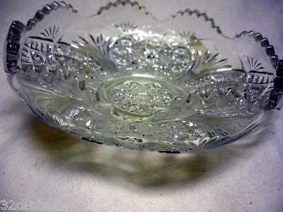 """ANTIQUE PRESSED GLASS  LOW BOWL 6"""" RAISED 8 POINT HOBSTAR FAN ARCHES"""