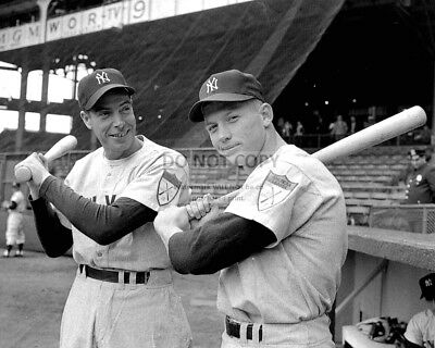 Joe Dimaggio And Mickey Mantle Ny Yankees Baseball Legends - 8X10 Photo (Aa-725)