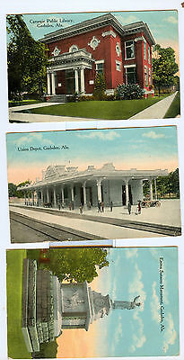 c1915 Gadsden AL Alabama Postcard Lot Standard Steel Steamboat RR Station 5 pcs