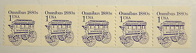 USA Scott# 2225 - MNH - Misperforated Coil Strip of 5 - Omnibus 1880s 1 Cent