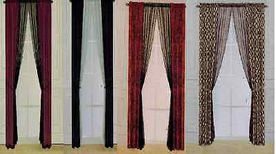 2 FAUX SILK SHEER PANEL WINDOW CURTAIN SET 3PCS 6PCS PRINT SOLID MANY COLORS