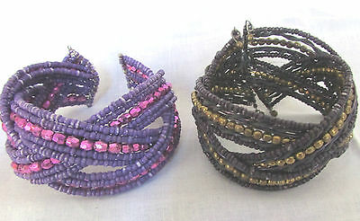 Purple Magic!! Deep Purple Shiny Gold Beads & Bright Purple All Purple  Bracelet