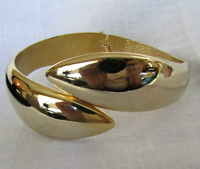 Quality Solid Design  Yellow Gold Plated Bangle Snap On  Bracelet