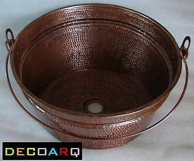 * ABOVE THE COUNTER INCLINED Bucket DESIGN COPPER SINK OLD PATINA FARM STYLE !!!