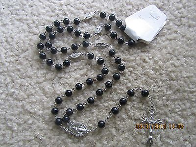 Vintage Black Round glass beads cross crucifix Chain Catholic Rosary necklace