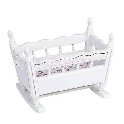 Miniature White Wooden Nursery Cradle Cot Baby Crib for 1/12 Dolls House